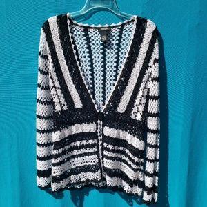 Peck & Peck Crochet Black & White Cardigan